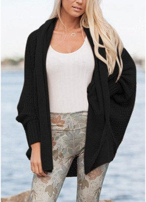 Women Loose Knitted Cardigan Bat Long Sleeves Casual Sweater Outerwear_4