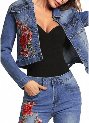 Embroidered Flower Turn-Down Collar Long Sleeve Denim Jacket_3