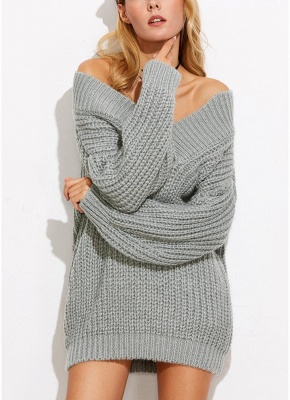 Sexy Women Off the Shoulder V Neck Chunky Knitwear_3