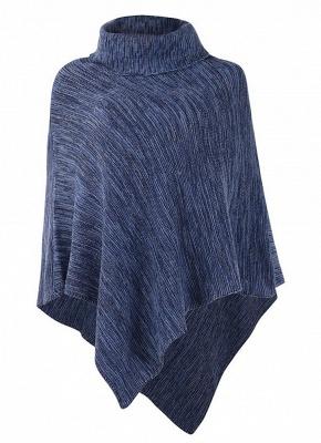 Sexy Women Cape Turtleneck Shawl Irregular Knitted Poncho_5