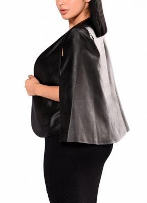 Fashion Women PU Leather Jacket Open Front Split Loose Cape Cloak Outerwear_3