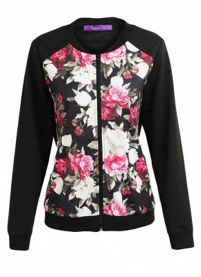 Fashion Women Floral Print Jacket Coat Zipper Long Sleeve Pocket Bomber Jacket_1