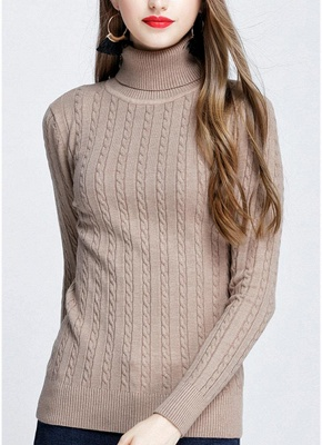 Fashion Women Twisted Turtleneck Long Sleeve Knitted Sweater_2