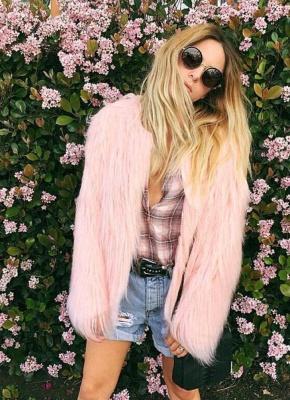 Faux Fur Coat Long Sleeve Fluffy Outerwear Short Jacket Hairy Warm Overcoat_4