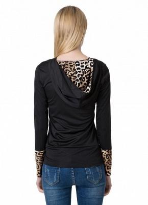 Fashion Leopard Button Hooded Neck Long Sleeve Black Sweatshirt_6