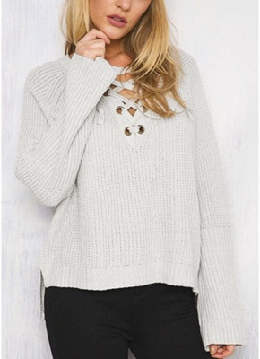 Autumn Winter Sweater Flare Sleeve Lace Up V-Neck Women's Pullover_3