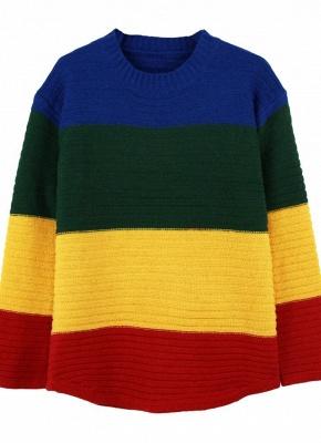 yellow Rainbow Color Block Crew Neck Sweater_4
