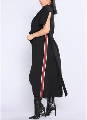 Women Coat Outerwear Striped Belt Sleeveless Turn-Down Collar Open Front Casual Long Overcoat_8