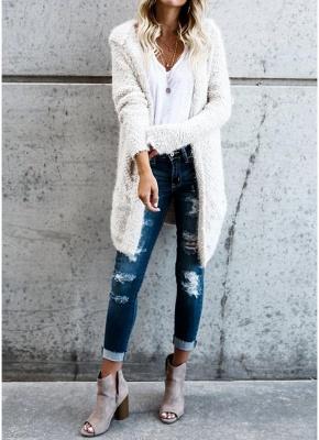 Fashion Women Fleece Hooded Cardigan Open Front Long Sleeve Solid Warm Hoodie Outerwear Loose Sweater Coat_6