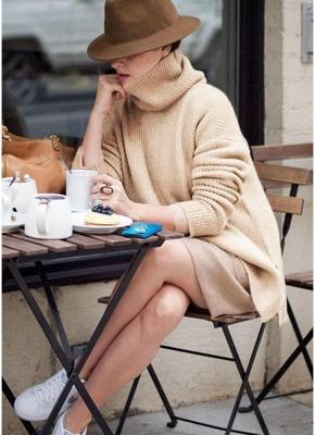 Winter Women Warm Oversize Turtleneck Sweater Long Sleeve Pockets Casual Rib Knitted Mini Dress_4