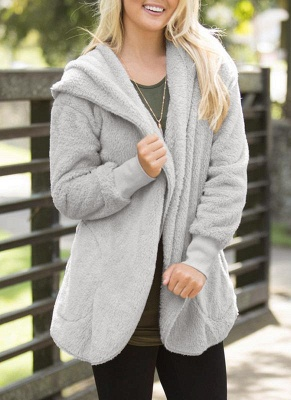 Fashion Women Hooded Cardigan Cashmere Solid Warm Knitted Outerwear Sweater Coat_2