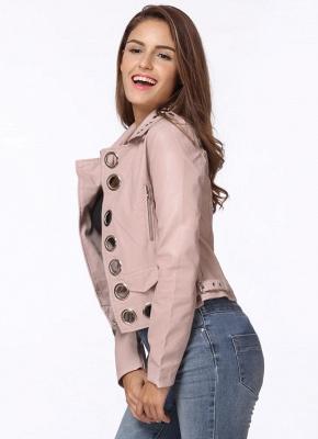 Fashion Hollow Out Leather Slim Hole Short Coat Women's Jacket_6