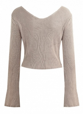 Women Sexy Off The Shoulder cropped V Neck Flare Sleeve Pullover Knitwear_4