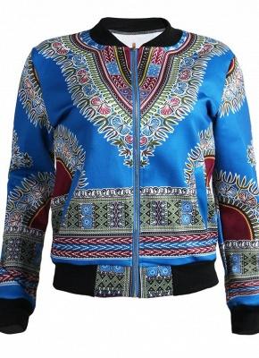 Bomber Jacket Vintage Print Long Sleeve Zipper Outerwear Casual Short Jacket Coat_3