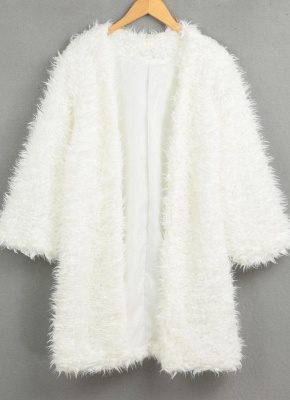 Winter Women Fluffy Faux Fur Coat Soft Lining Warm Solid Elegant Midi Outerwear Overcoat_4