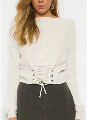 Sexy Off Shoulder Sweater Slash Neck Lace-Up Bandage Women's Pullover_1