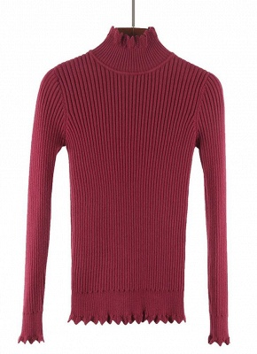 Women Basic Solid Turtleneck Knitted Sweater_3