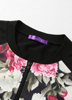 Fashion Women Floral Print Jacket Coat Zipper Long Sleeve Pocket Bomber Jacket_5