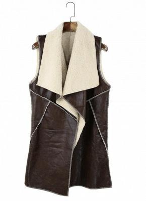 Suede Faux Fur Lapel Fleece Long Waistcoat_3