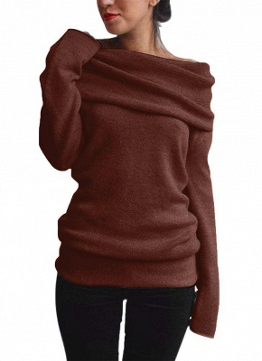 Women Off the Shoulder Sweater Wool Cowl Neck Long Sleeve Knitted Pullover_1