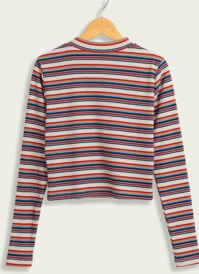 Women Casual Knitted Cropped Striped Pullover Sweater_2