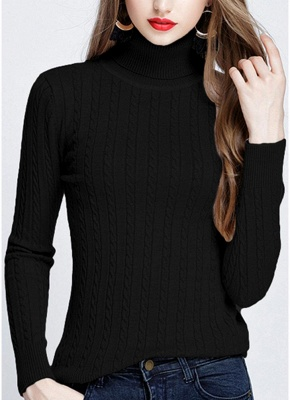 Fashion Women Twisted Turtleneck Long Sleeve Knitted Sweater_3