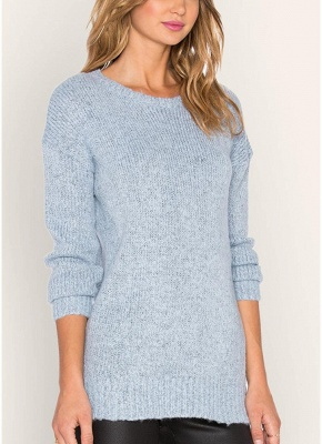 Knitted Sweaters Drop Shoulder O Neck Ribbed Knitting Women's Pullover_3