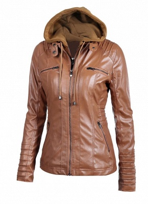 Faux Leather Hooded Zippered Short Slim Motorcycle Jacket_3