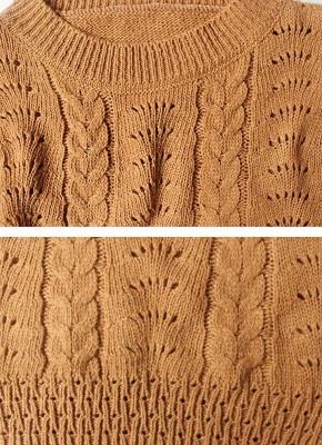 Women Loose Knitted Sweater O-Neck Long Sleeve Solid Warm Pullovers Top Knitwear_6
