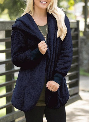 Fashion Women Hooded Cardigan Cashmere Solid Warm Knitted Outerwear Sweater Coat_1