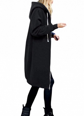 Fashion Women Hoodie Long Hooded Coat Casual Pockets Solid Jacket_1