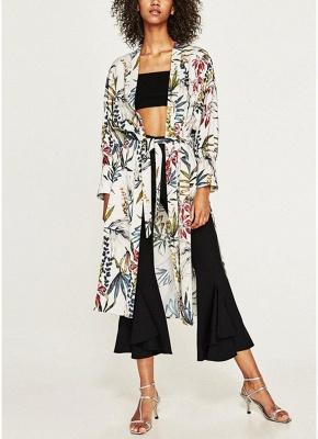 Women Flower Print Sash Kimono Shirt Retro Bandage Cardigan Blouse Top_1