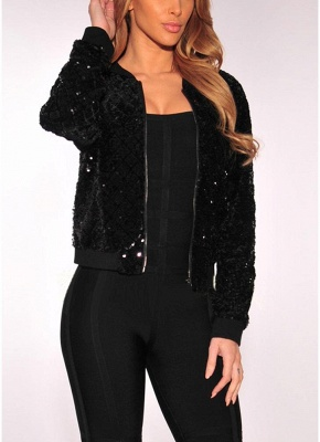 Women BlingBling Sequin Outwear Zipper Front Long Sleeve Bomber Jacket Basic Coat_1