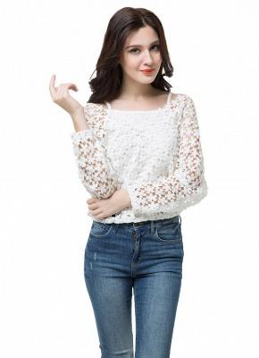 Chic Crochet Lace V-Neck Long Sleeve White Blouse with Vest_10