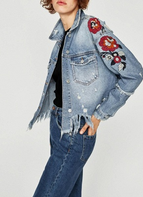 Women Floral Embroidery Ripped Fringe Casual Denim Jacket_3