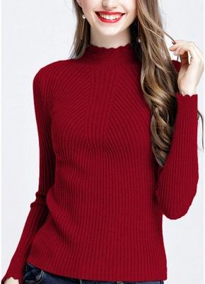 Fashion Women Turtleneck Long Sleeve Ruffled Knitting Sweater_3