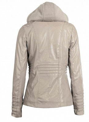 Faux Leather Hooded Zippered Short Slim Motorcycle Jacket_7