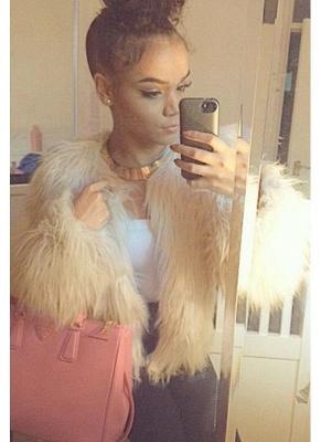 Faux Fur Coat Long Sleeve Fluffy Outerwear Short Jacket Hairy Warm Overcoat_2