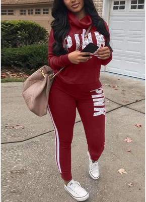 Women Sweatershirt Pants Letter Print Turtleneck Splicing Side Sport Set_1