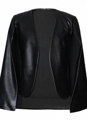 Fashion Women PU Leather Jacket Open Front Split Loose Cape Cloak Outerwear_4