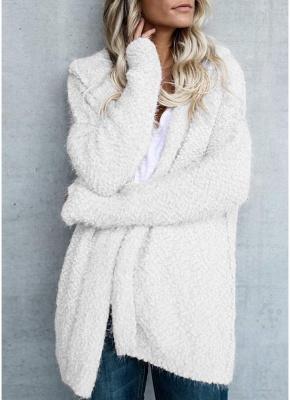 Fashion Women Fleece Hooded Cardigan Open Front Long Sleeve Solid Warm Hoodie Outerwear Loose Sweater Coat_1