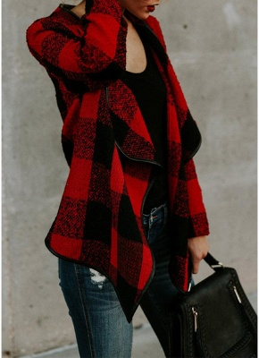 Fashion Women Long Sleeve Plaid Lapel Collar Casual Irregular Jacket_5