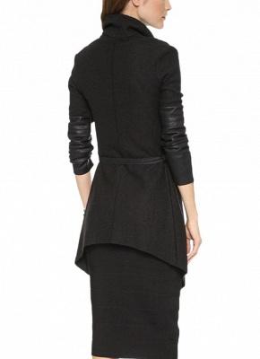 Autumn Winter Women Jacket Coat Large Lapel PU Leather Splice Overcoat Long Sleeve Casual Outerwear Black_4