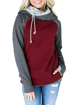 Fashion Women Hoodie Sweatshirts Contrast Color Long Sleeve Drawstring Casual Warm Pullover Hooded Tops_3