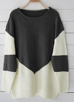 Contrast Color Round Neck Hollow Out Women Casual Knitted Sweater_5