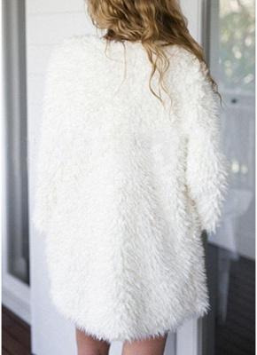 Winter Women Fluffy Faux Fur Coat Soft Lining Warm Solid Elegant Midi Outerwear Overcoat_3