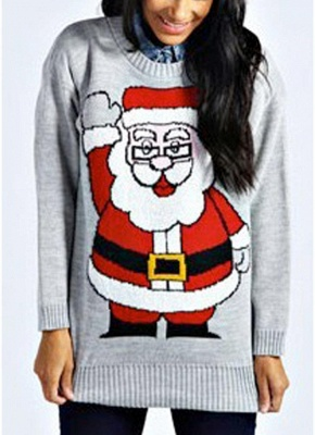 size Women Christmas Santa Knitted Sweater One Size_1