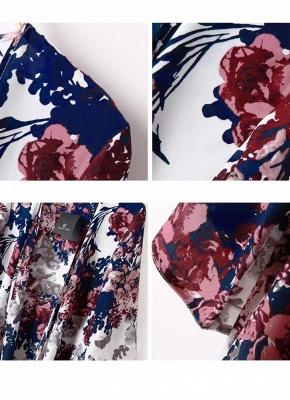 Vintage Floral Print Batwing 3/4 Sleeve Irregular Hem Chiffon Kimono_4