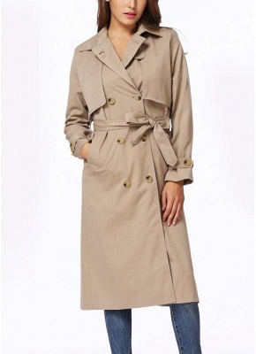 Women Winter Lined Turn-down Collar Double-breasted Button Closure Windbreaker Coat_1