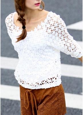 Chic Crochet Lace V-Neck Long Sleeve White Blouse with Vest_3
